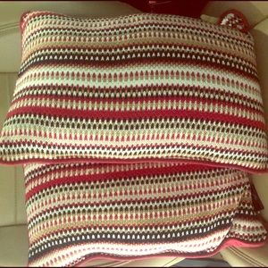 Two 15 x 11 inches multicolored throw pillows